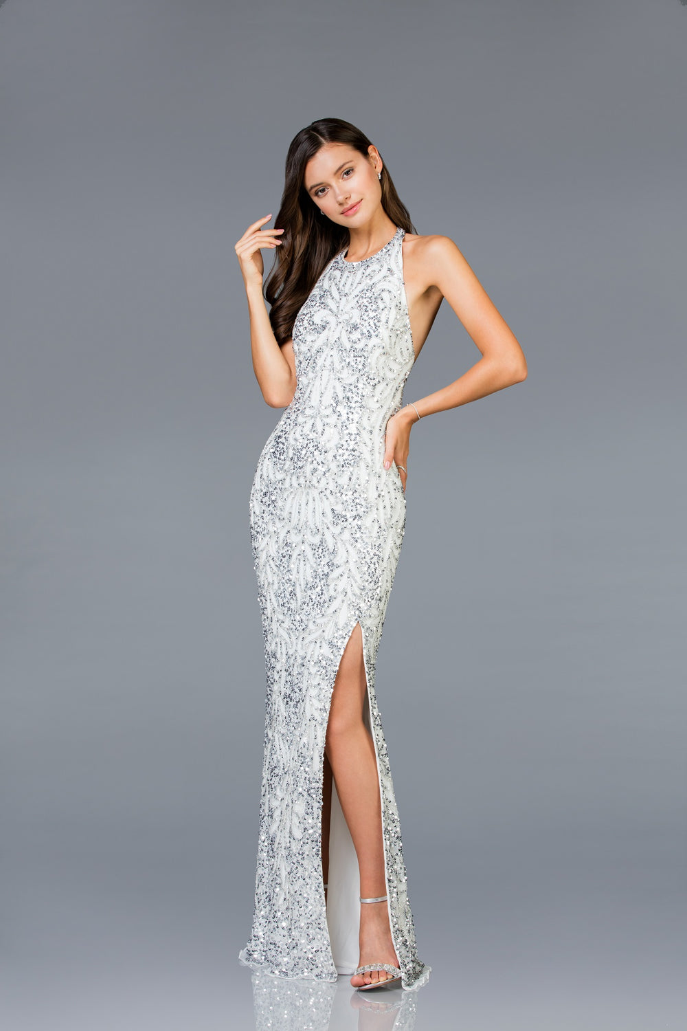 Scala 48831 Neck-Halted Long Gown