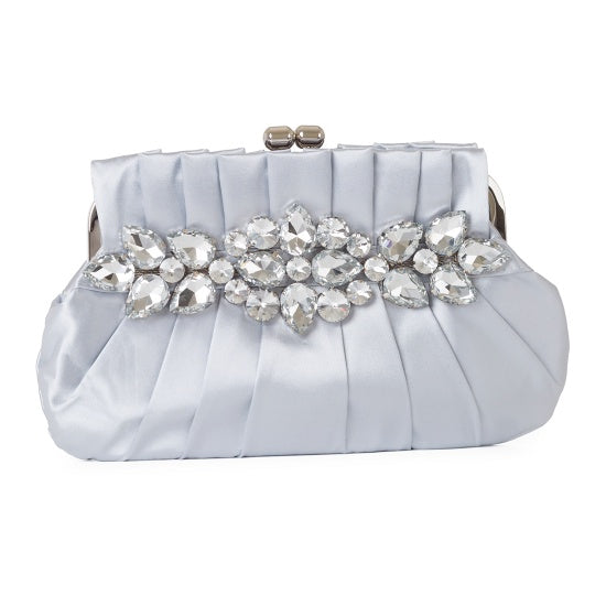 Floral Pleated Satin Clutch Bag 21206