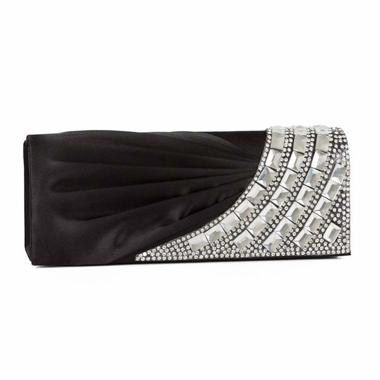 Flap Pleated Clutch Bag with Rhinestone 27569
