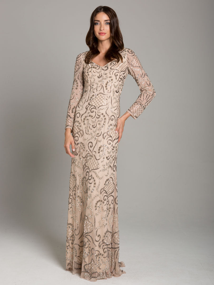Lara 29839 Long Sleeve Fitted Gown with V-Neckline