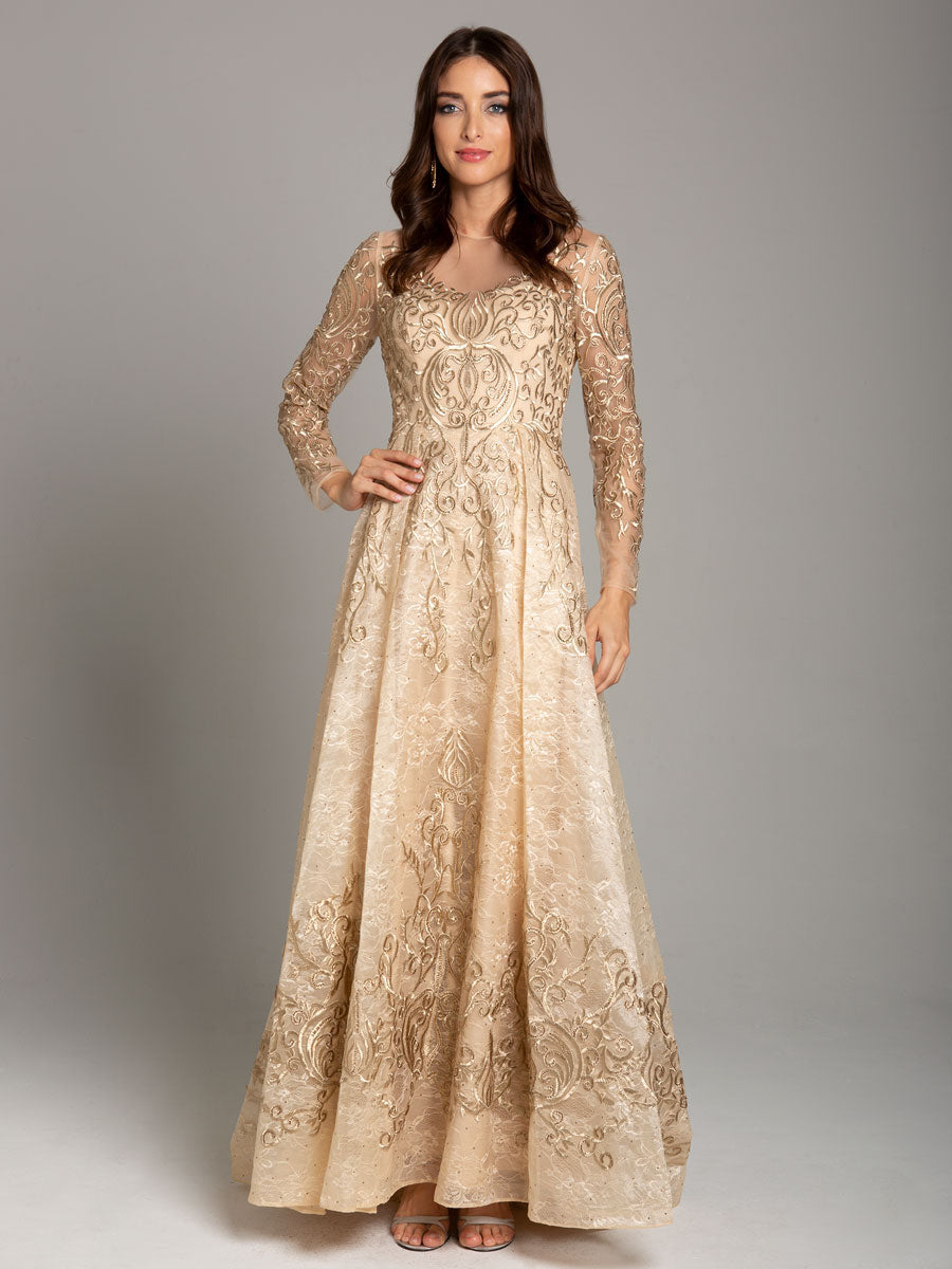 Lara 29856 Long Sleeve Lace Ball Gown