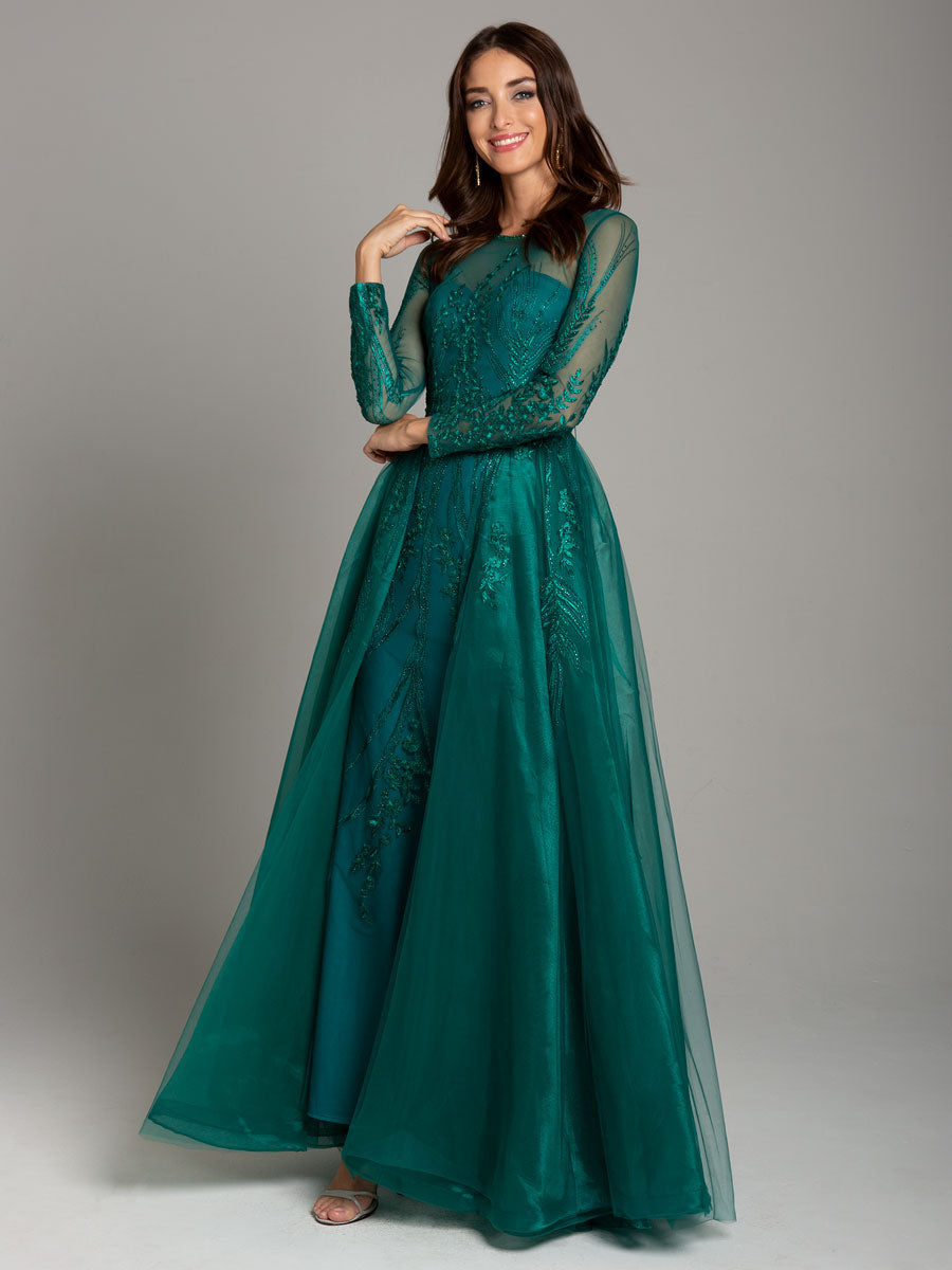 Lara 29857 High-Neck Full Sleeve Flowing Gown
