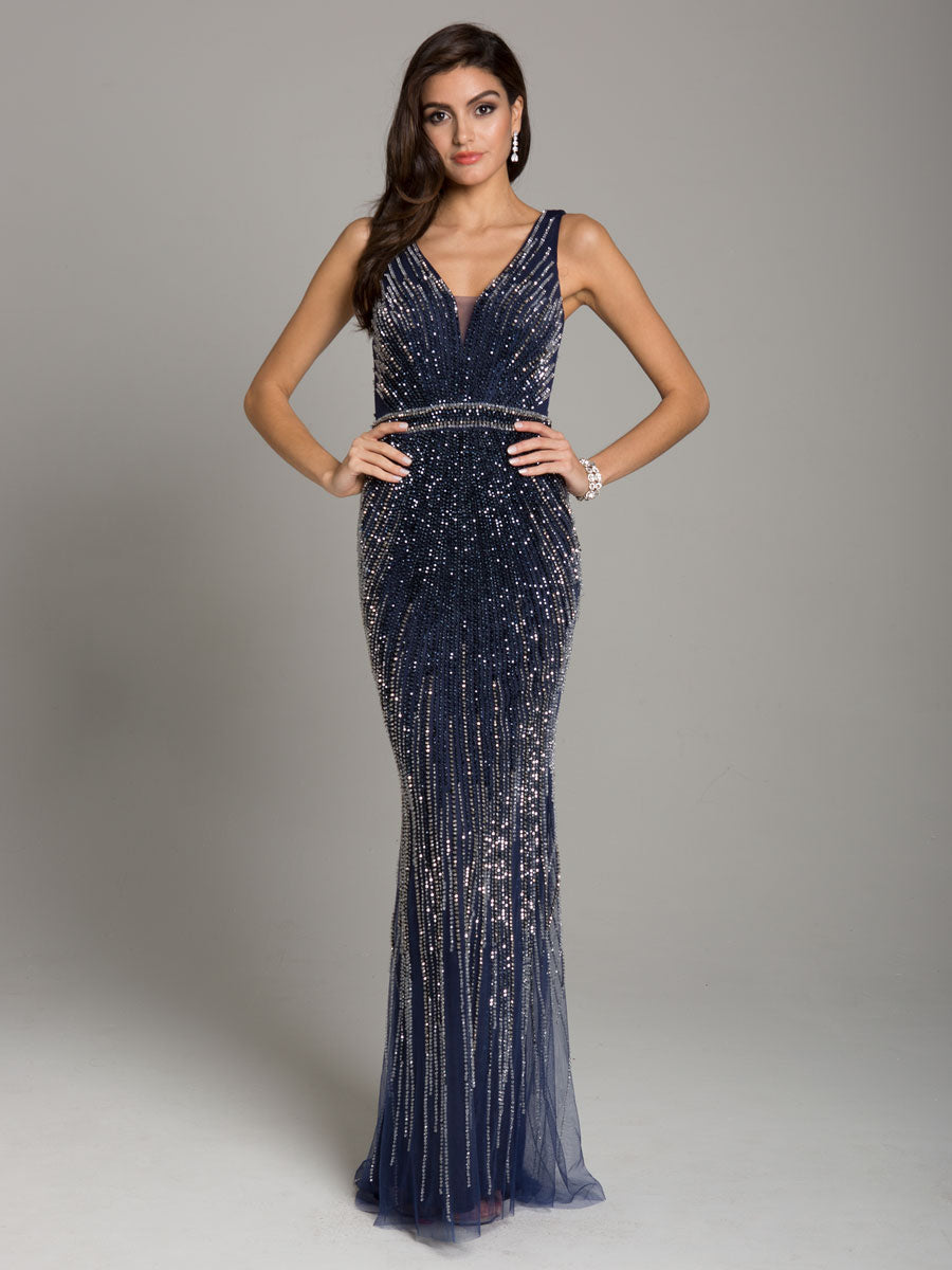 Lara 29860 Fitted Open Back Beaded Long Gown