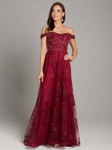 Lara 29861 Off-Shoulder Lace Ball Gown