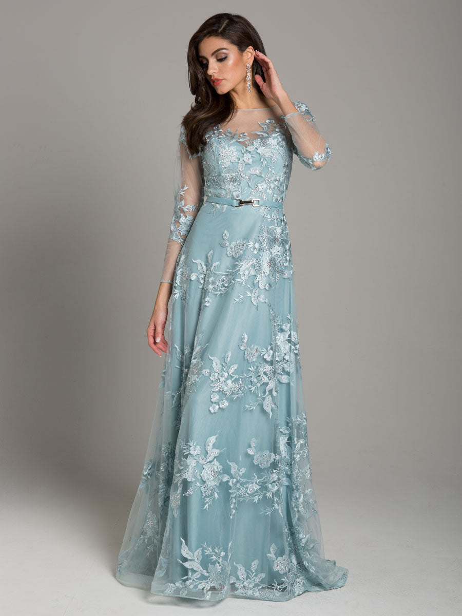 Lara 29863 A-Lining High Neck Lace Gown