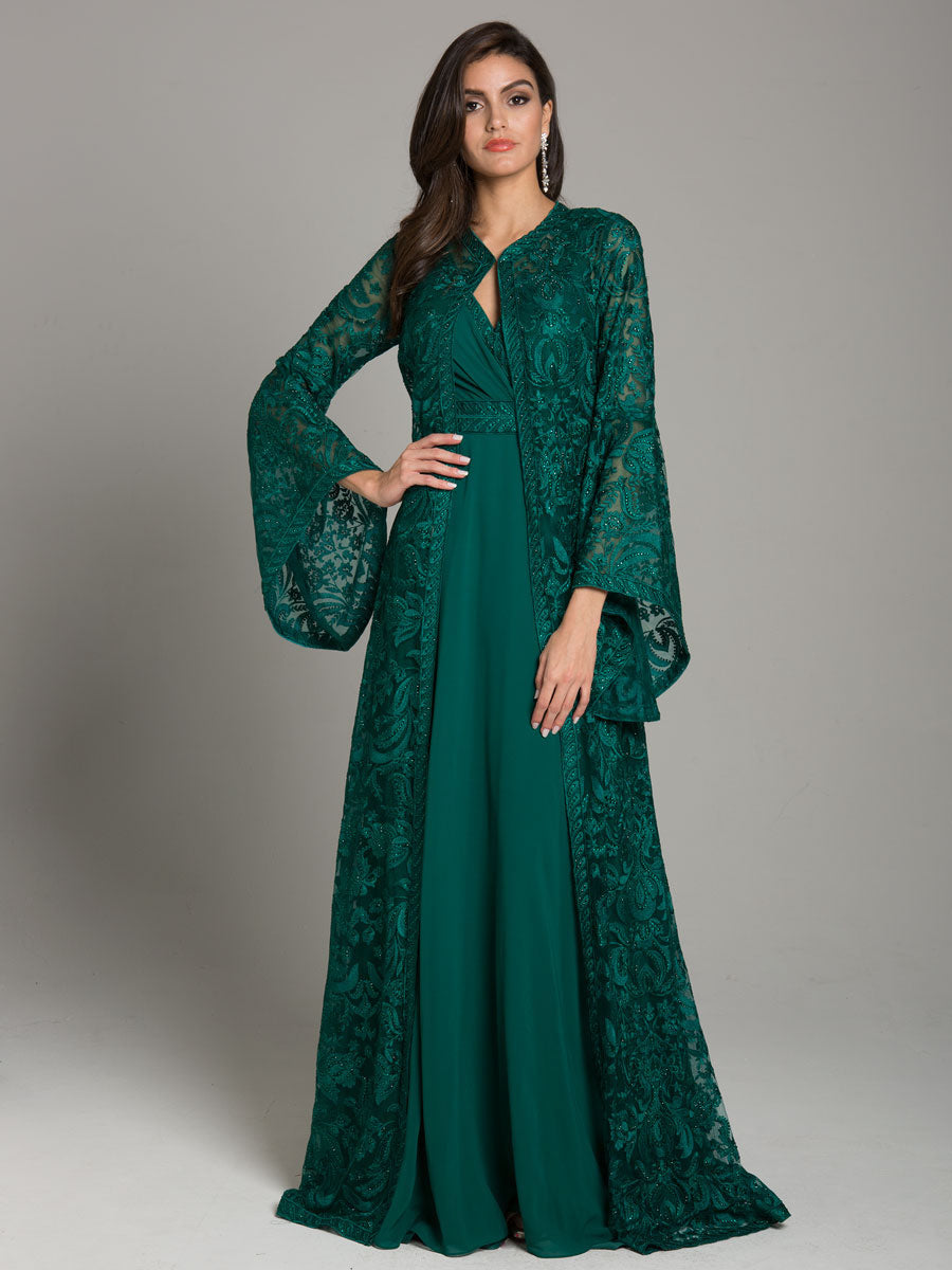 Lara 29864 V-Neckline Lace Gown with Full-Sleeve Jacket