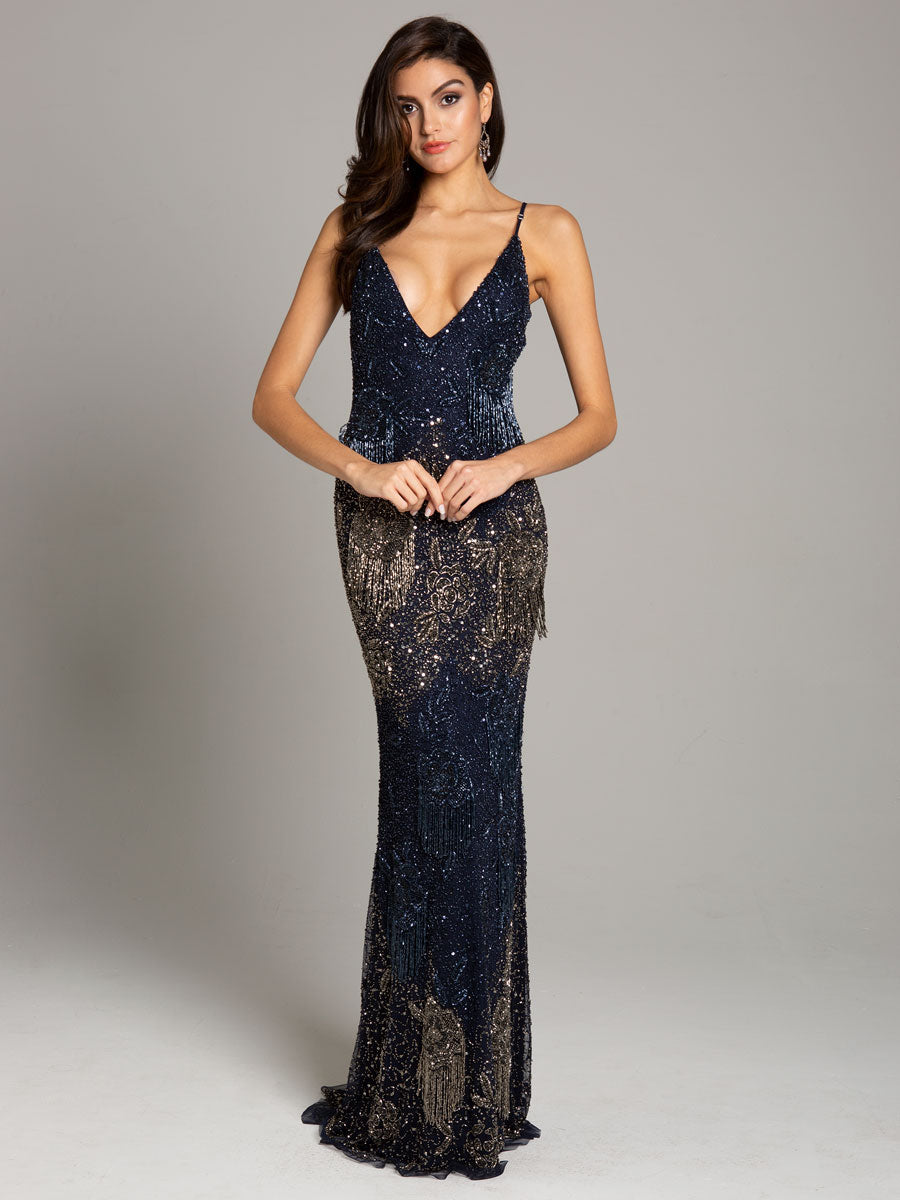 Lara 29892 V-Neckline Long Gown