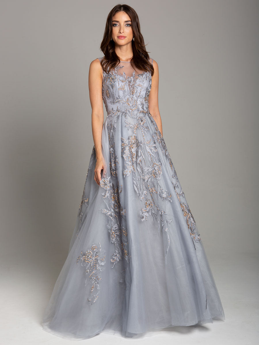 Lara 29940 High Neckline Floral Ball Gown