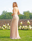 Primavera Couture 3209 Open Beaded Back-Sided Long Gown