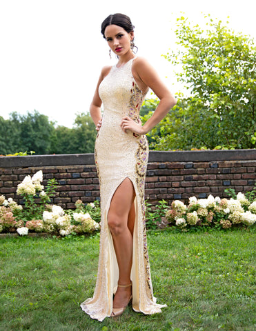 Primavera Couture 3217 High Slit Stylish Long Dress