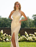 Primavera Couture 3218 High Neck-Halted Long Gown