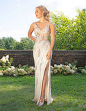 Primavera Couture 3230 Deep Neck-Lining Long Gown