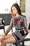 LARA 33129 Long Sleeve, High Neck, Beaded Mini Dress With Lattice Sequin Pattern