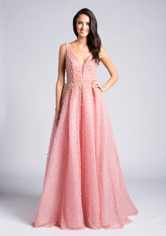 LARA 33202 Plunging V-Neckline Long Ball Gown