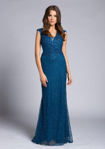 Lara 33232 V-Neckline Lace Mermaid Gown