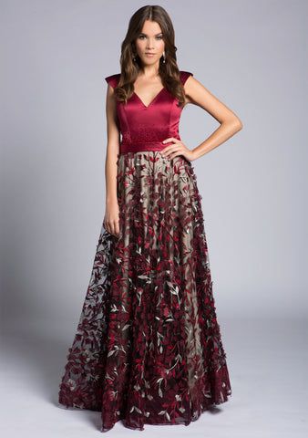 Ball Gown With A Satin Bodice And 3d Floral Skirt Covered In Stones