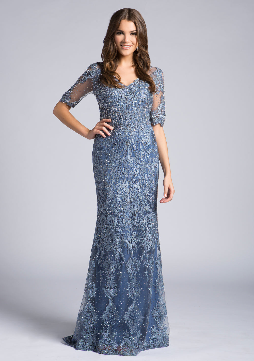 Lara 33604 Short Sleeve Lace Gown