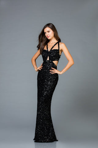 Scala 48946 Cut-Out Long Fitted Dress