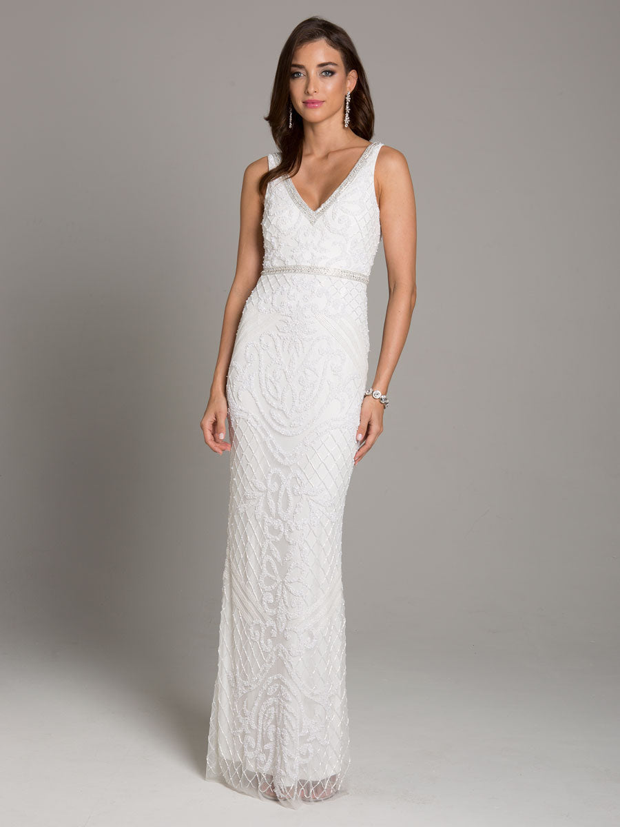 Lara 51006 V-Neckline Long Gown