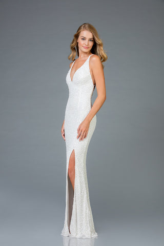 Scala 48949 High Slit Long Fitted Dress