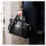 Sylvia Black Embossed Satchel