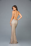 Scala 48956 Neck-Halted Fitted Long Dress