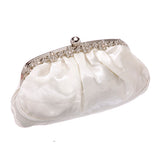 Satin Rhinestone Frame Clutch Bag 81025