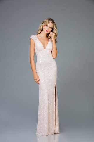 Scala 48958 Deep Neckline Long Gown