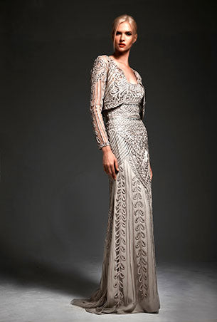 Park108 8705 Soutache Embroidered/Beaded Gown