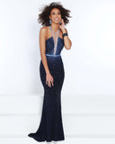 2Cute 91498 Backless Cutout Bodice Long Prom Dress