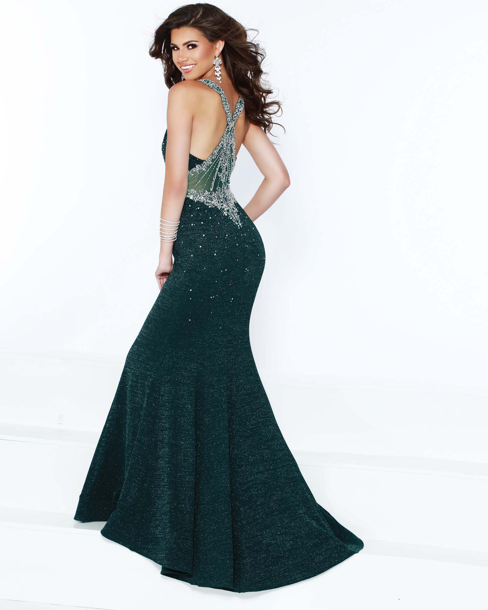 2Cute 91516 Deep Neckline Long Fitted Prom Dress