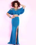 2Cute 91525 2 In 1 High Slit Glitter Jersey Prom Dress
