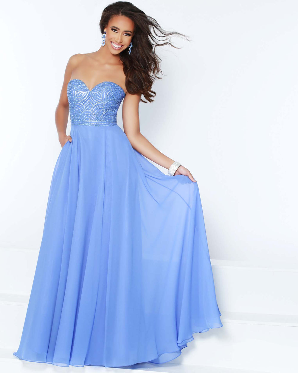 2Cute 91542 Strapless Long Chiffon Gown