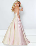 2Cute 91551 Deep Neckline Satin Long Prom Dress