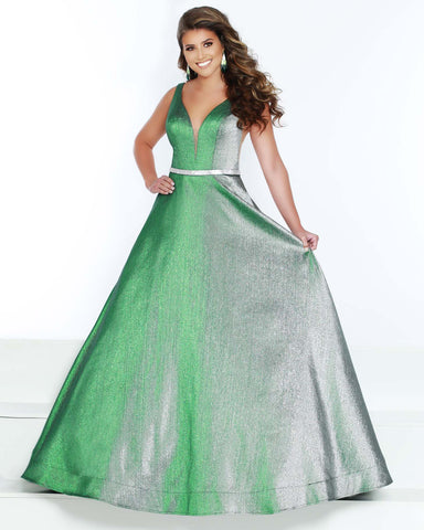 2Cute 91573 Long Sleeveless Glitter Satin Prom Dress