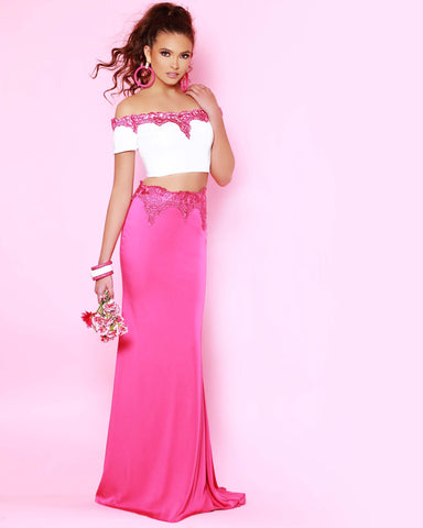 2Cute 91583 Two pieces Off-Shoulder Long Prom Dress