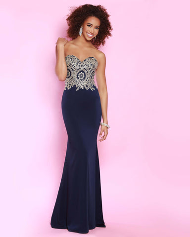 2Cute 91585 Strapless Floral Satin Prom Dress