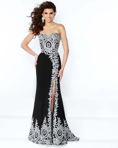 2Cute 91586 Strapless Long High Slit Prom Dress