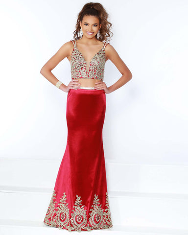 2Cute 91587 Two Pieces Deep Neckline Prom Dress