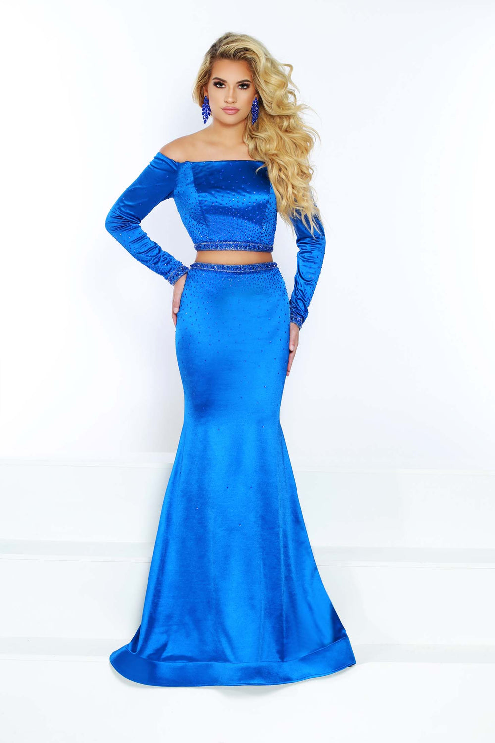 2Cute 91601 2 In 1 Off-The-Shoulder Satin Prom Dress
