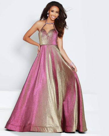 2Cute 91602 Long Stylish Neckline Backside Crisscross Long Prom Dress