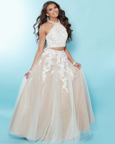 2Cute 91607 2 In 1 High Neckline Long Prom Dress
