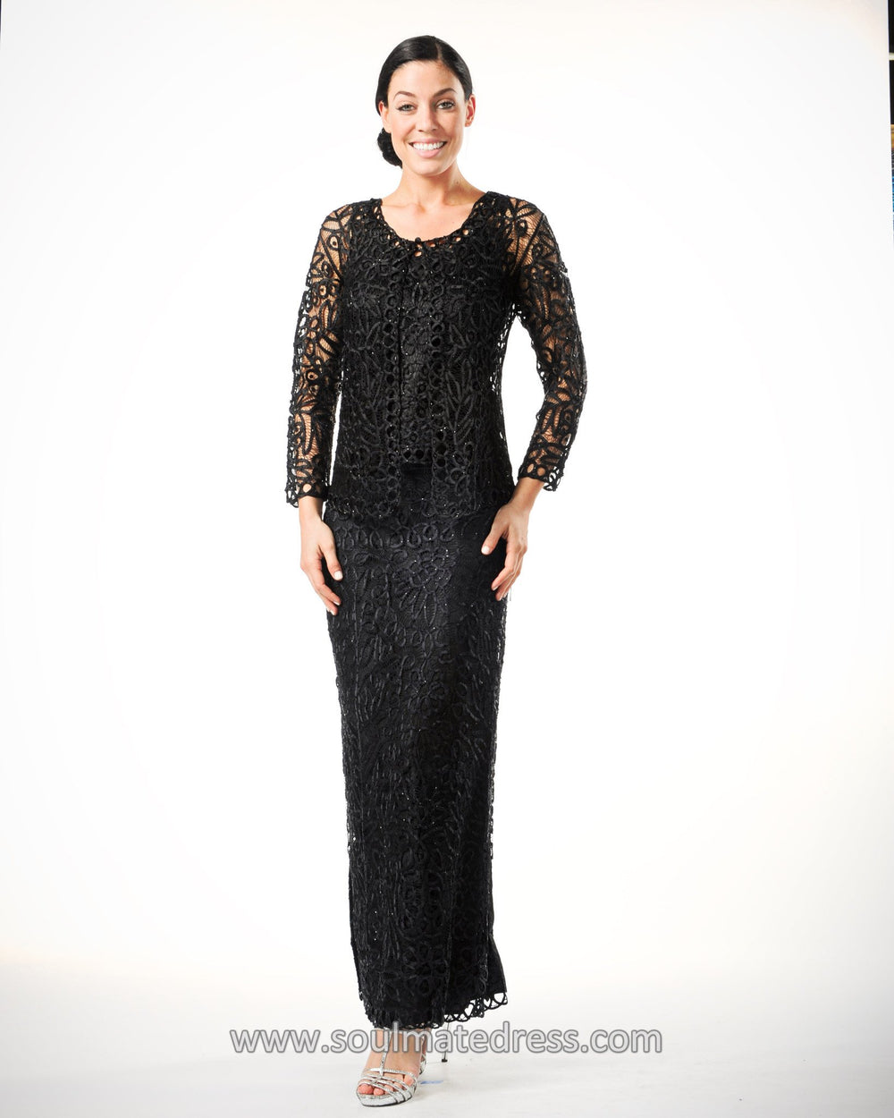C12551 Signature Crochet Three Pieces Evening Gown