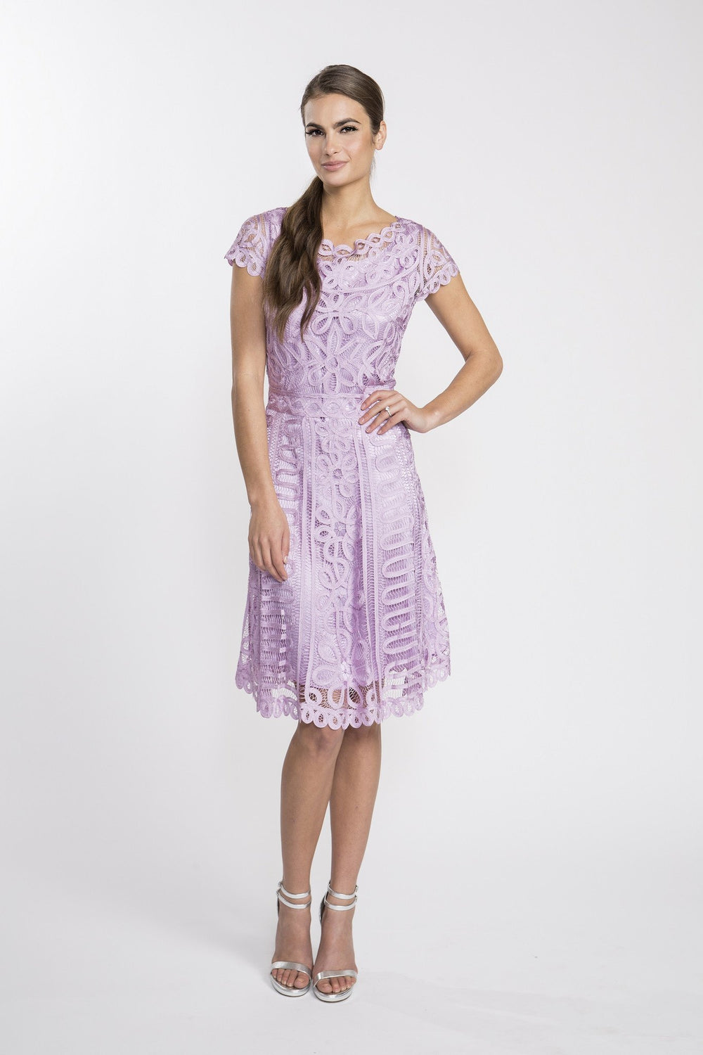 D1319 Women's Boat Neck A-Line Lace Cocktail Dress