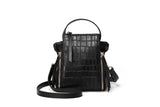 Sylvia Black Embossed Crossbody Handbag