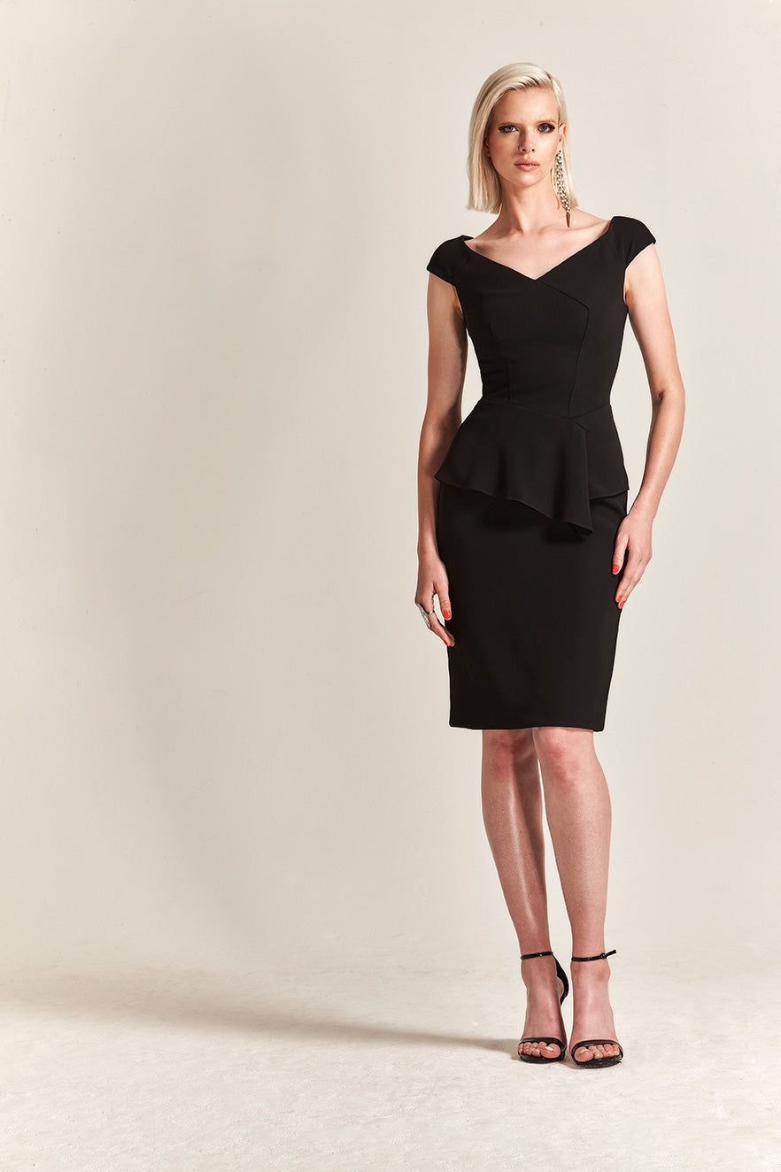 Park108 M 204 Asymmetric Peplum Crepe Cocktail Dress