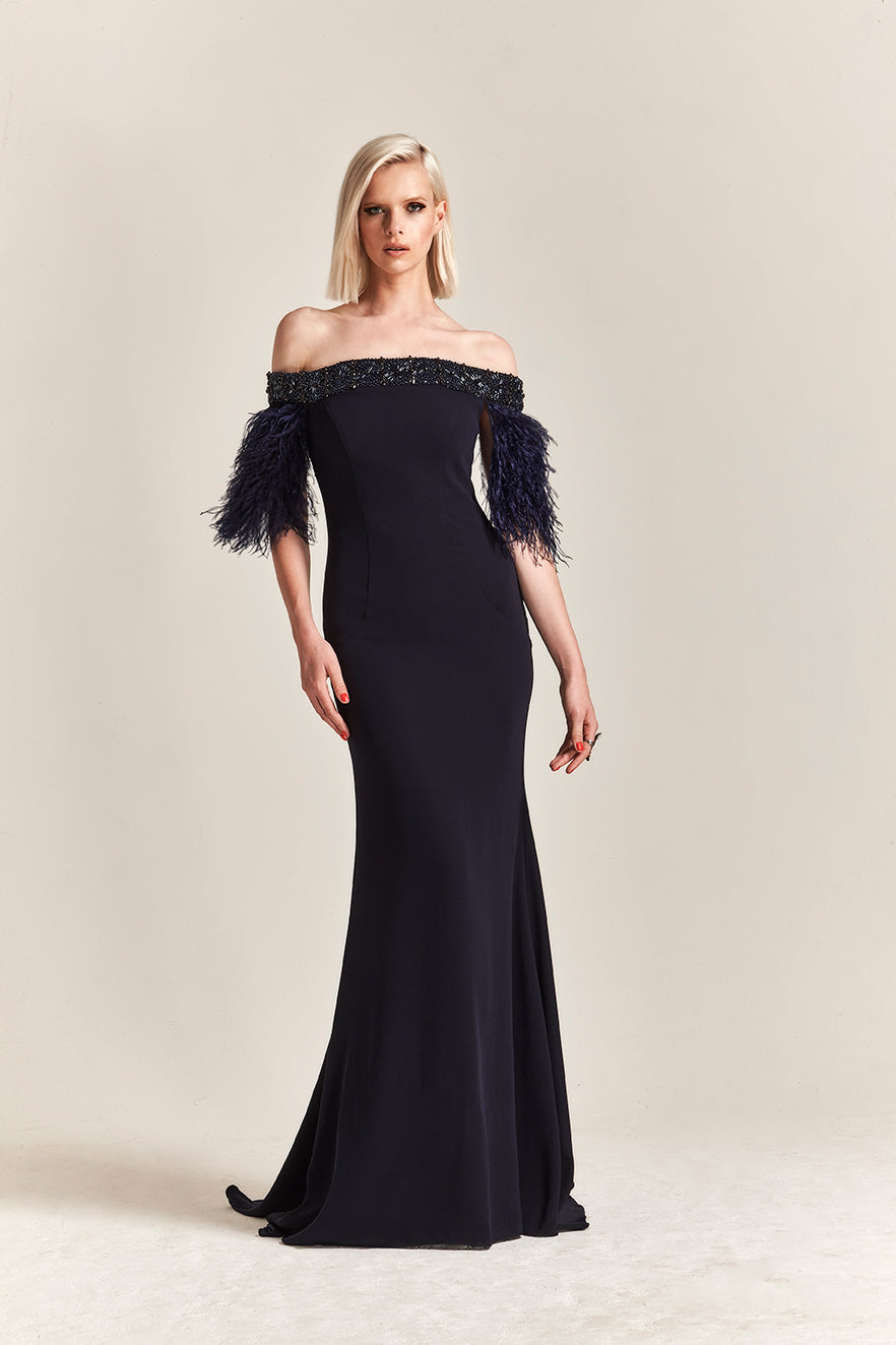 Park108 M 213 Off Shoulder Crepe Gown