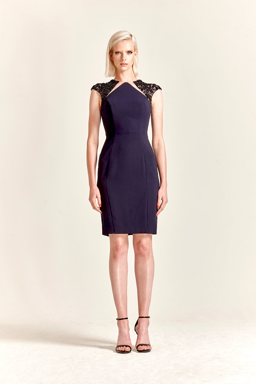 Park108 M 220 Beaded Cap Sleeve Crepe Cocktail Dress