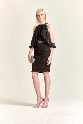 Park108 M 221 Beaded Crepe Cocktail Dress