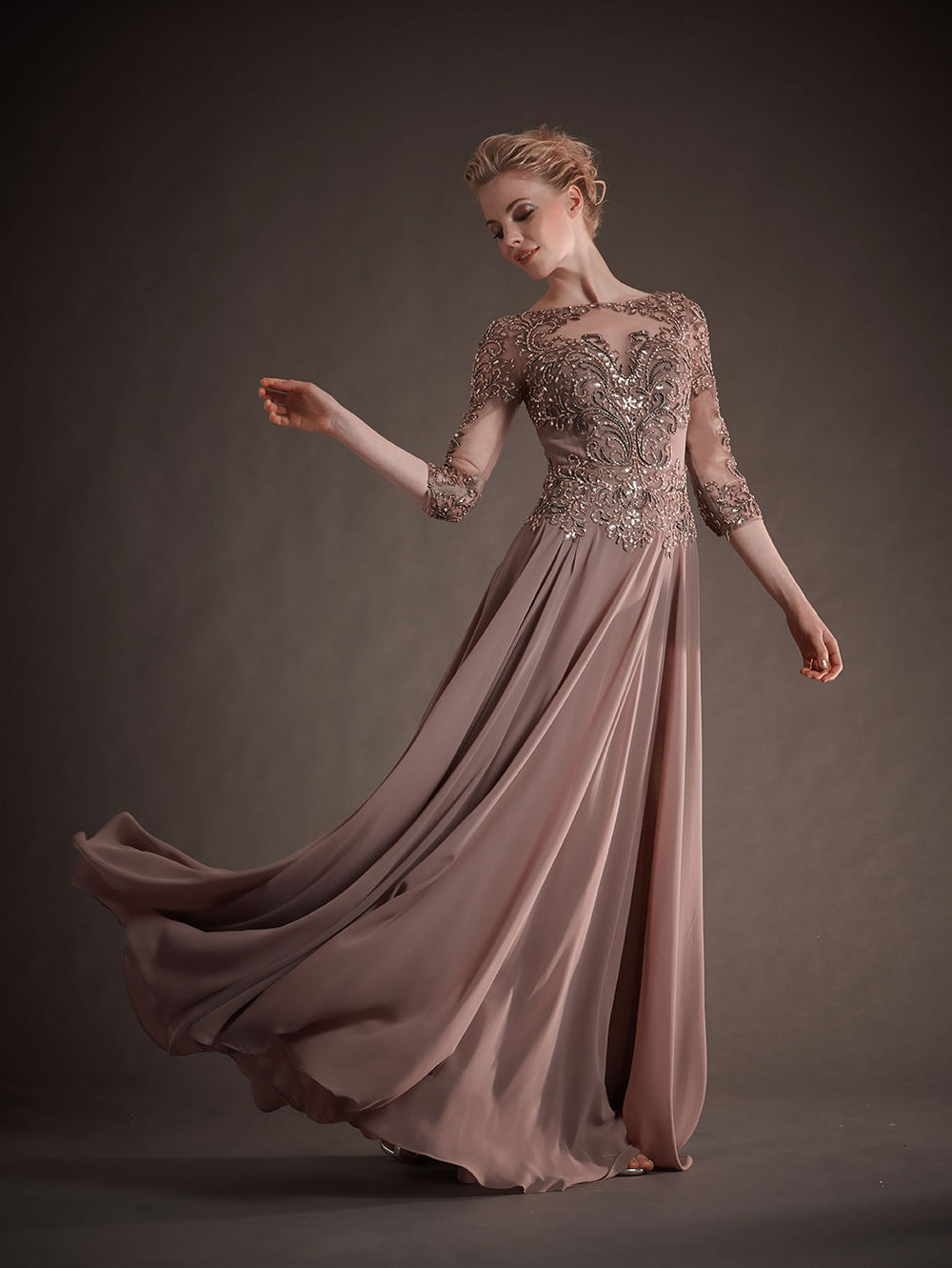 Park108 M145 Beaded Tulle/Chiffon Gown